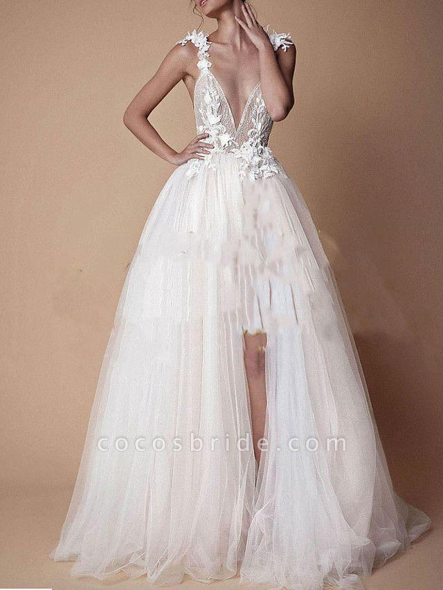A-Line Wedding Dresses V Neck Floor Length Lace Tulle Cap Sleeve Formal Boho Plus Size