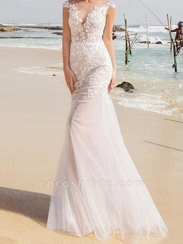 Mermaid \ Trumpet Wedding Dresses Jewel Neck Sweep \ Brush Train Lace Tulle Sleeveless Sexy See-Through