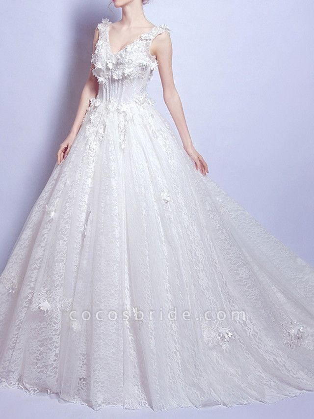 A-Line Wedding Dresses V Neck Court Train Chiffon Lace Tulle Sleeveless Casual Illusion Detail Plus Size