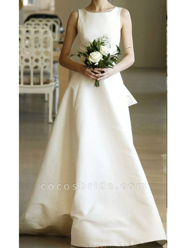 A-Line Wedding Dresses Jewel Neck Sweep \ Brush Train Satin Regular Straps Formal Plus Size