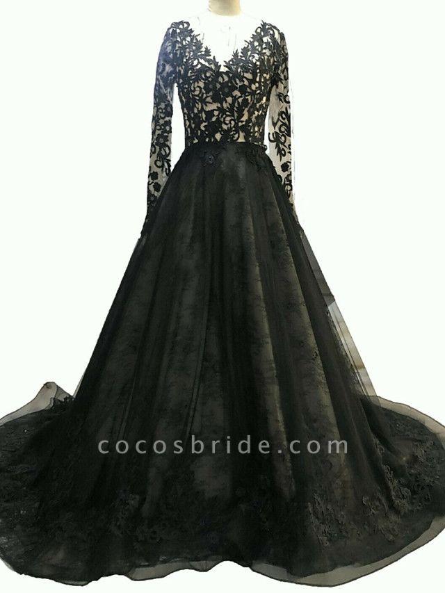 A-Line Wedding Dresses V Neck Sweep \ Brush Train Polyester Long Sleeve Formal Plus Size Black