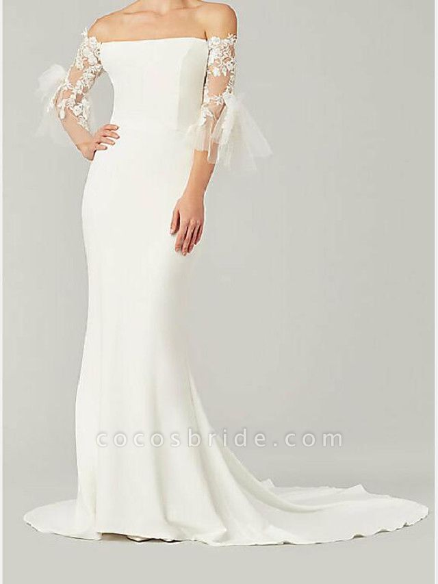 Mermaid \ Trumpet Wedding Dresses Off Shoulder Sweep \ Brush Train Lace Satin 3\4 Length Sleeve Country Plus Size
