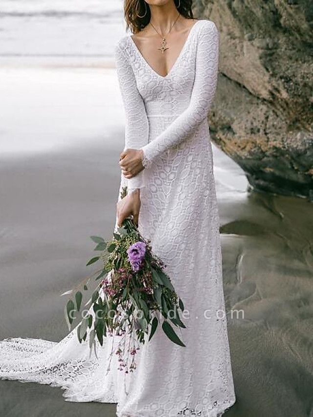 A-Line Wedding Dresses V Neck Sweep \ Brush Train Lace Long Sleeve Boho Sexy Backless
