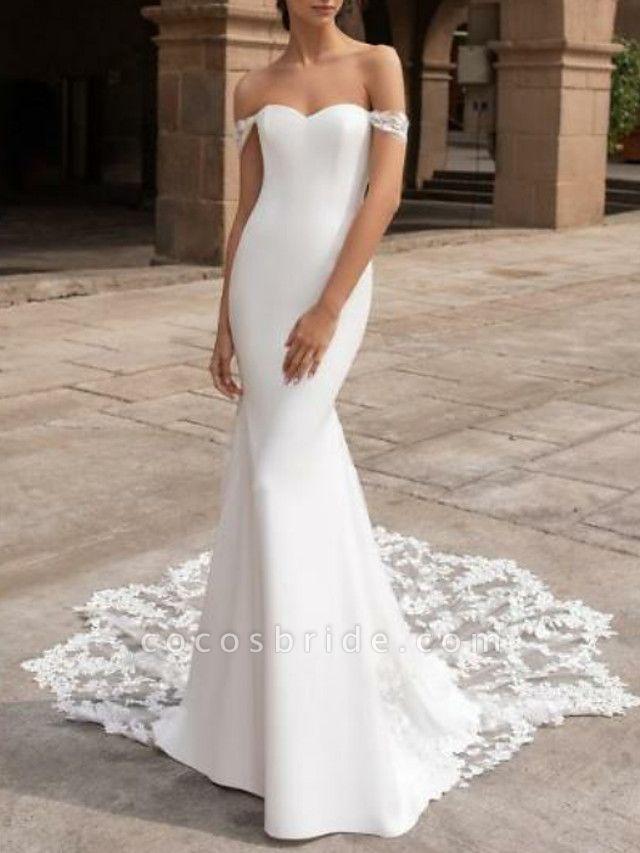 Mermaid \ Trumpet Wedding Dresses Off Shoulder Court Train Lace Cap Sleeve Plus Size