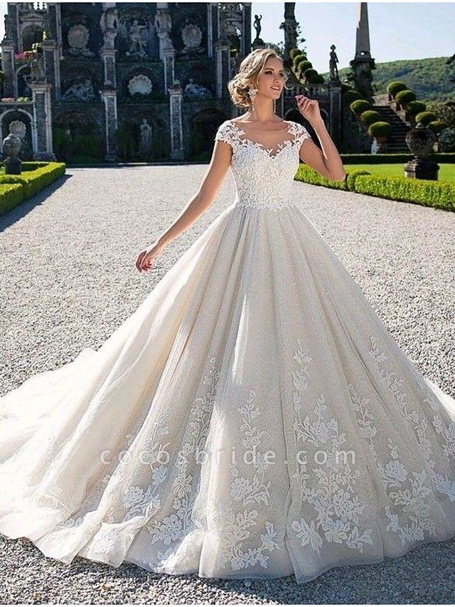 Ball Gown Jewel Neck Chapel Train Lace Tulle Lace Over Satin Cap Sleeve Glamorous Illusion Detail Wedding Dresses