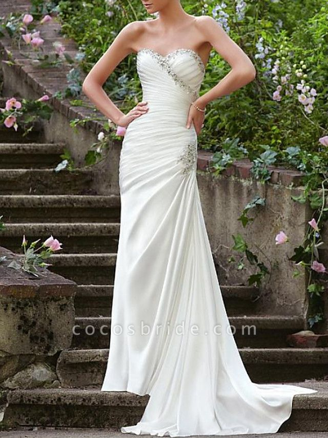 Mermaid \ Trumpet Wedding Dresses Strapless Sweep \ Brush Train Chiffon Over Satin Sleeveless Formal Sexy