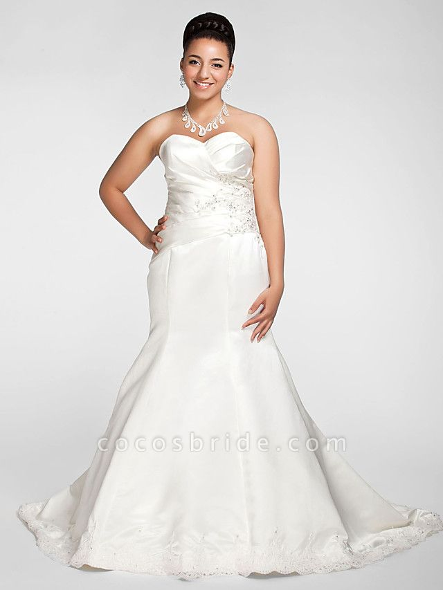 Mermaid \ Trumpet Wedding Dresses Sweetheart Neckline Court Train Satin Strapless Formal Sparkle & Shine Plus Size
