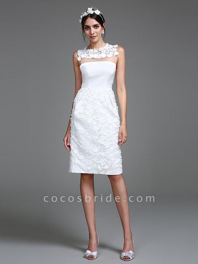 Sheath \ Column Wedding Dresses Jewel Neck Short \ Mini Chiffon Regular Straps Romantic Casual See-Through Plus Size Backless