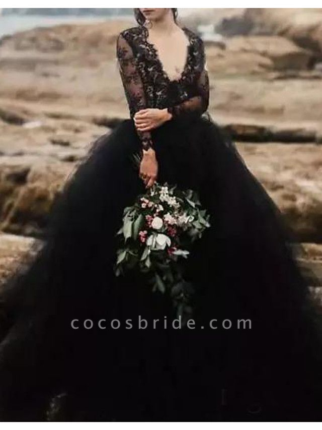 A-Line Wedding Dresses Plunging Neck Sweep \ Brush Train Polyester Long Sleeve Country Plus Size Black