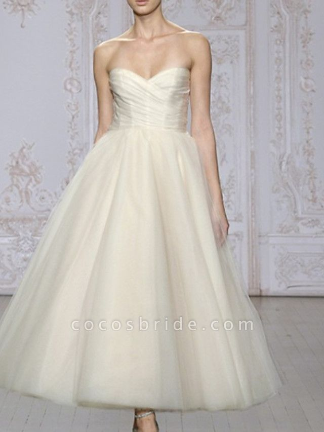 A-Line Wedding Dresses Strapless Ankle Length Lace Tulle Strapless Formal Cute
