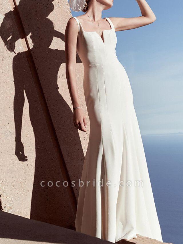 Sheath \ Column Wedding Dresses V Wire Floor Length Satin Sleeveless Country Beach Plus Size