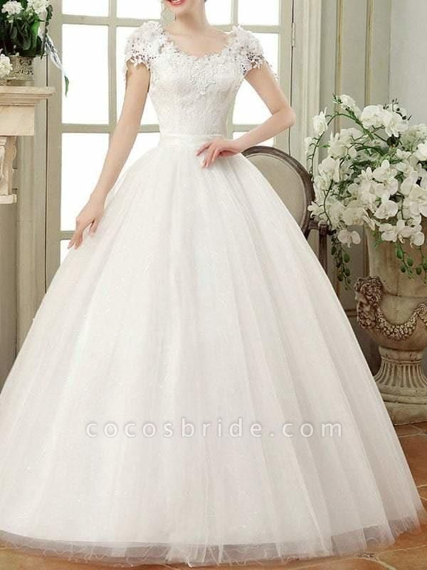Vintage Lace Wedding Dresses Cap Sleeves Long Train Ball Gowns