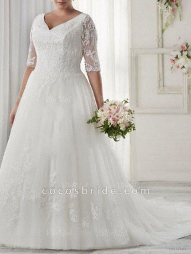 A-Line Wedding Dresses V Neck Sweep \ Brush Train Tulle Half Sleeve Illusion Sleeve