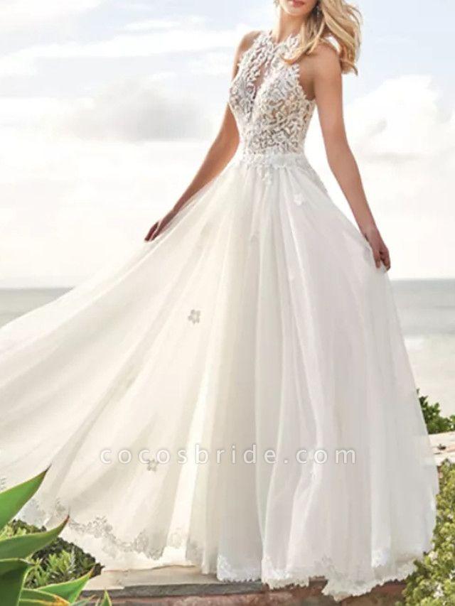 A-Line Wedding Dresses Jewel Neck Sweep \ Brush Train Lace Satin Tulle Sleeveless Beach