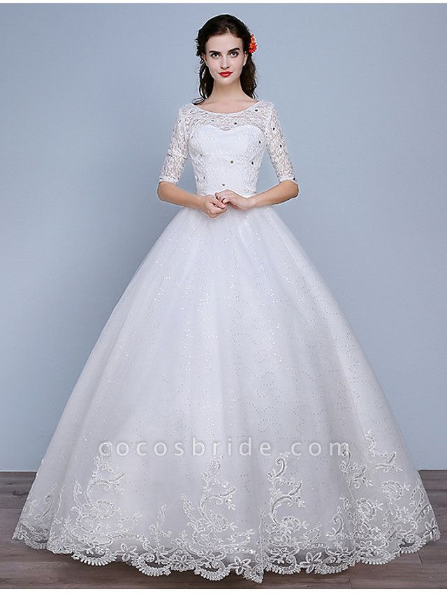 Ball Gown Wedding Dresses Scoop Neck Floor Length Lace Tulle Polyester Half Sleeve Romantic