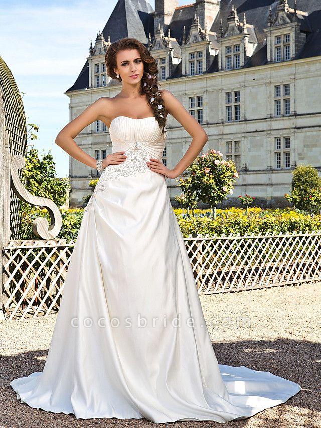 Princess A-Line Wedding Dresses Strapless Chapel Train Satin Sleeveless