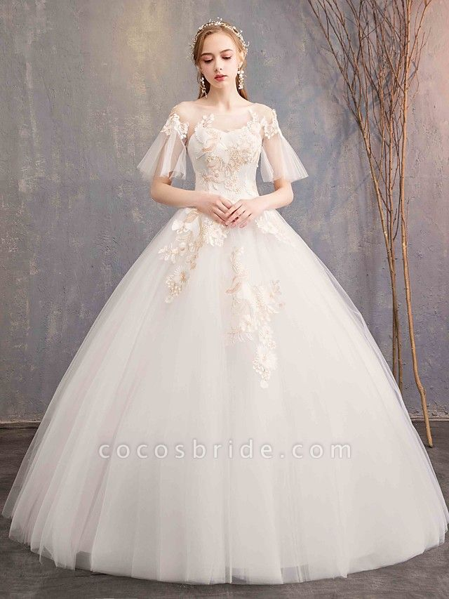 Ball Gown Wedding Dresses Bateau Neck Maxi Lace Tulle Short Sleeve Glamorous See-Through Backless