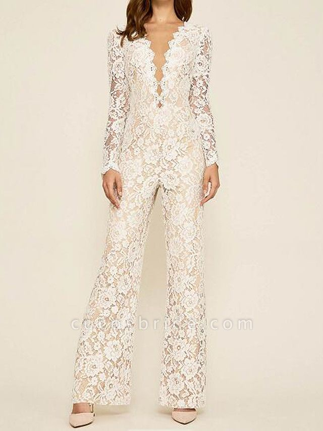 Jumpsuits Wedding Dresses Plunging Neck Floor Length Lace Long Sleeve Country Plus Size
