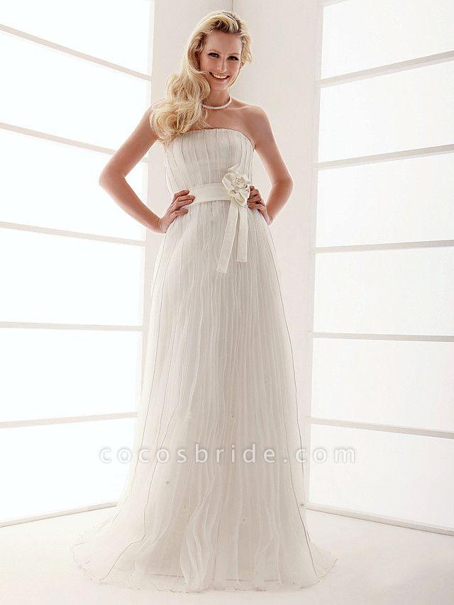 Sheath \ Column Wedding Dresses Strapless Floor Length Organza Sleeveless