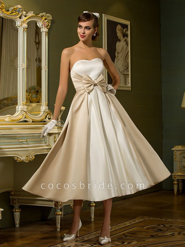 A-Line Wedding Dresses Sweetheart Neckline Tea Length Satin Strapless Casual Vintage Little White Dress Plus Size