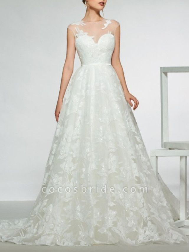 Mermaid \ Trumpet Wedding Dresses Jewel Neck Sweep \ Brush Train Lace Tulle Stretch Satin Cap Sleeve Country See-Through Backless