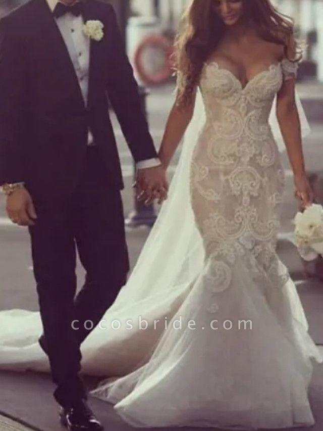 Mermaid \ Trumpet Off Shoulder Court Train Lace Tulle Regular Straps Formal Plus Size Wedding Dresses