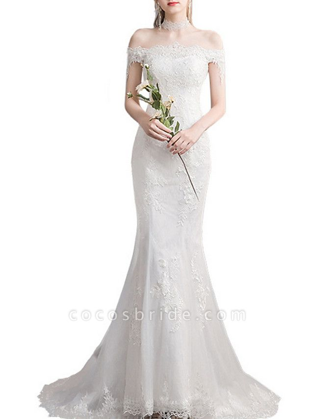 Mermaid \ Trumpet Wedding Dresses Off Shoulder Sweep \ Brush Train Lace Tulle Sleeveless Country Plus Size Backless