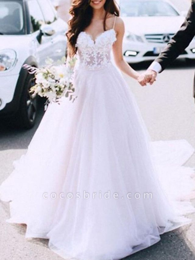 A-Line Wedding Dresses Spaghetti Strap Sweep \ Brush Train Lace Tulle Sleeveless Country Sexy See-Through