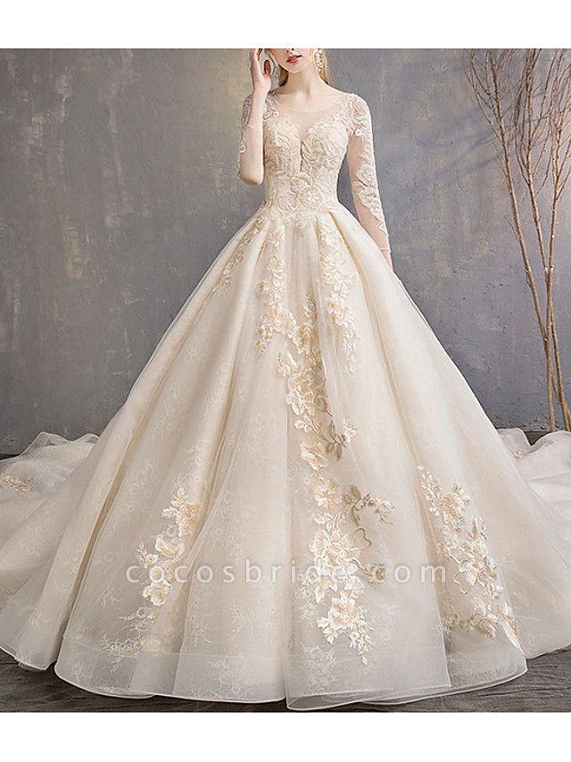 A-Line Wedding Dresses Jewel Neck Court Train Lace 3\4 Length Sleeve Glamorous Backless