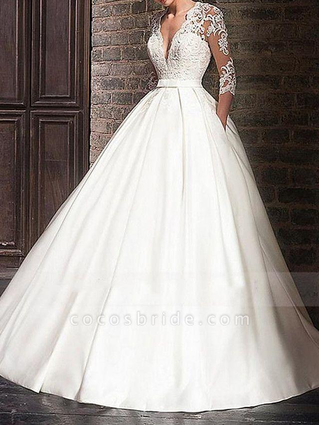 A-Line Wedding Dresses V Neck Floor Length Satin Half Sleeve Formal Plus Size Illusion Sleeve
