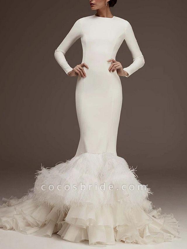 Mermaid \ Trumpet Jewel Neck Sweep \ Brush Train Satin Long Sleeve Plus Size Wedding Dresses