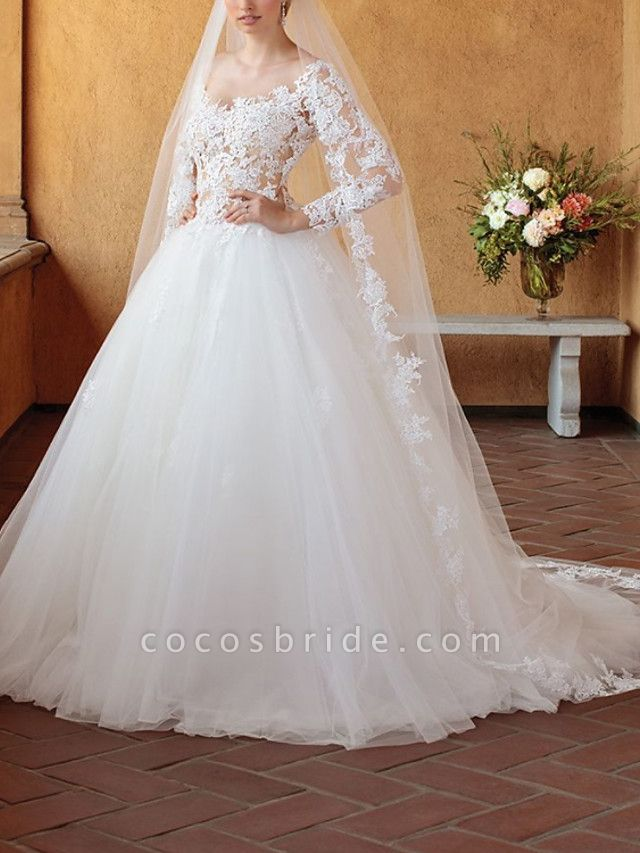Ball Gown Wedding Dresses V Neck Chapel Train Tulle 3\4 Length Sleeve Sexy Wedding Dress in Color See-Through