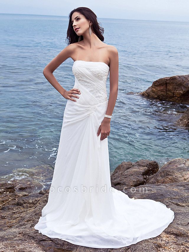 Sheath \ Column Wedding Dresses Strapless Court Train Chiffon Strapless Beach Plus Size