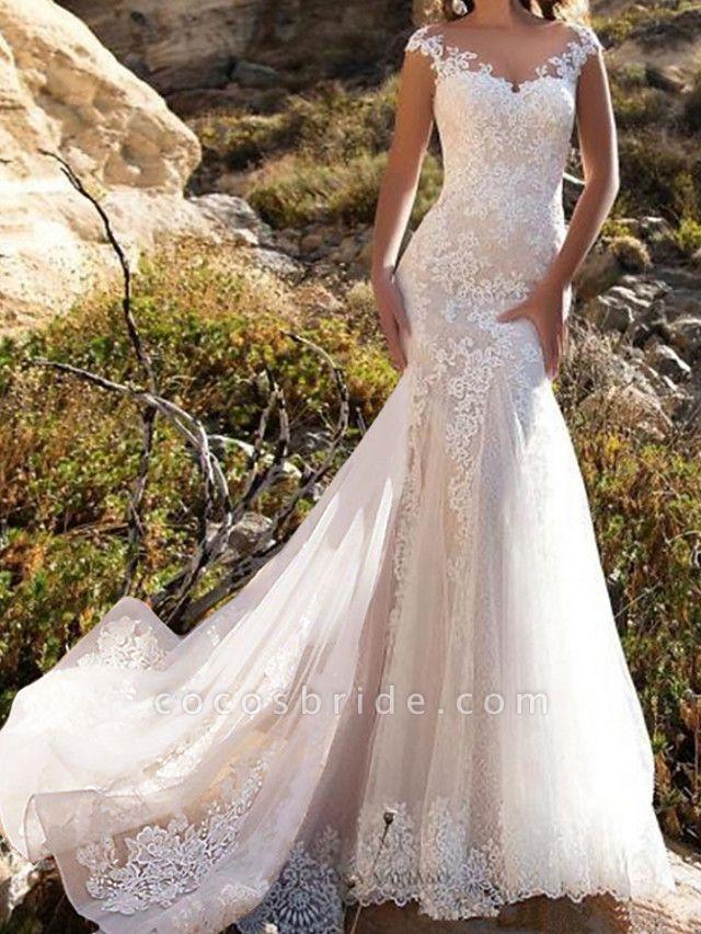 Mermaid \ Trumpet Wedding Dresses Jewel Neck Chapel Train Lace Tulle Sleeveless Glamorous