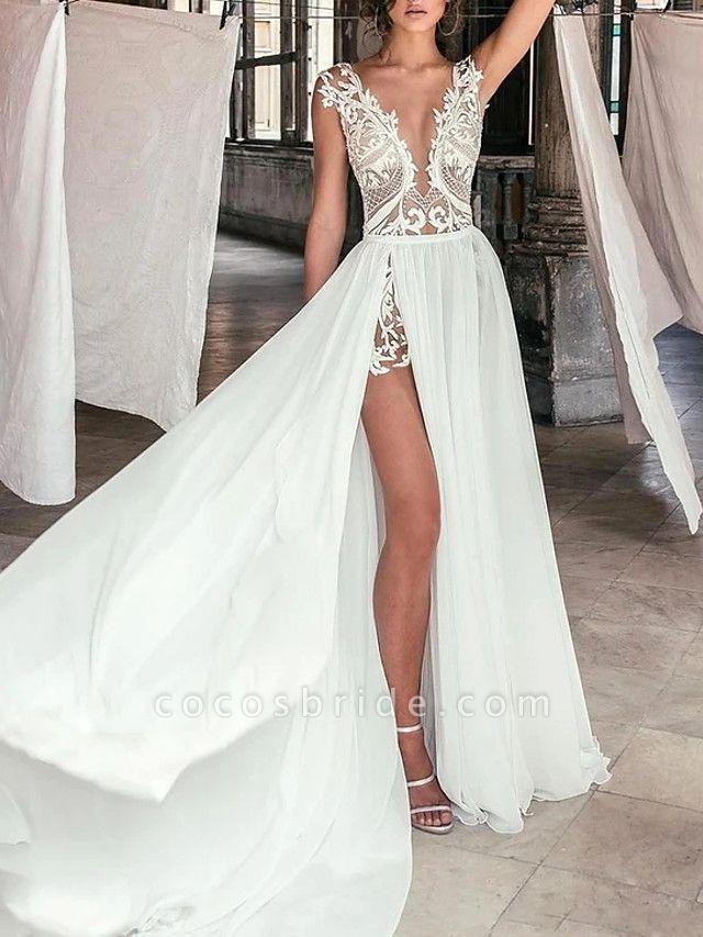 A-Line Wedding Dresses Plunging Neck Sweep \ Brush Train Chiffon Lace Cap Sleeve Beach Boho Sexy See-Through