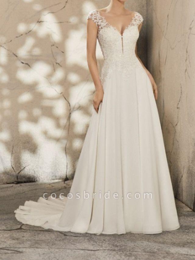 A-Line Wedding Dresses V Neck Court Train Lace Cap Sleeve Simple Plus Size