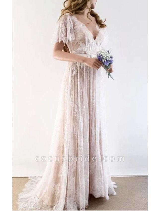 A-Line Wedding Dresses V Neck Sweep \ Brush Train Tulle Short Sleeve Illusion Detail