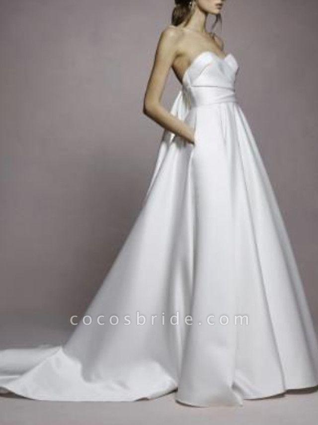 A-Line Wedding Dresses Sweetheart Neckline Sweep \ Brush Train Satin Strapless Simple Plus Size