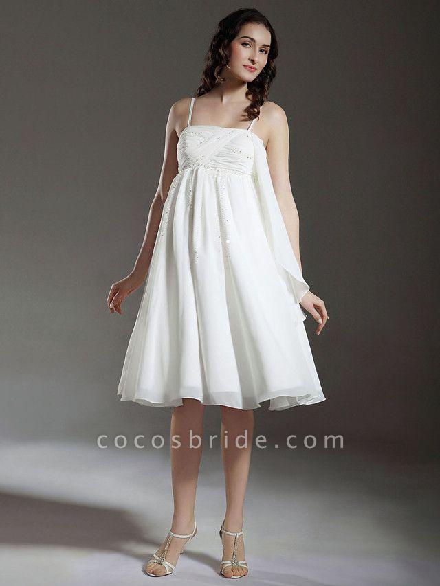 Princess A-Line Wedding Dresses Spaghetti Strap Knee Length Chiffon Sleeveless Little White Dress