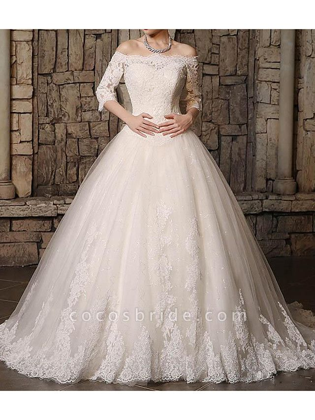 Ball Gown Off Shoulder Court Train Polyester 3\4 Length Sleeve Country Plus Size Wedding Dresses
