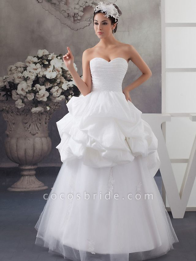 A-Line Sweetheart Neckline Floor Length Lace Satin Tulle Strapless Wedding Dresses