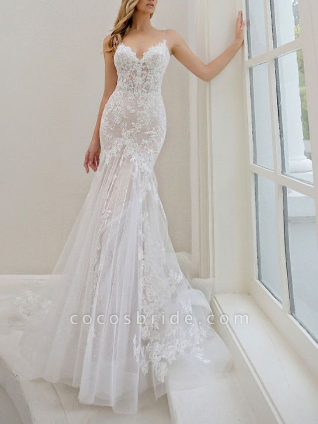 Mermaid \ Trumpet Wedding Dresses Spaghetti Strap Sweep \ Brush Train Lace Tulle Sleeveless Sexy See-Through Backless