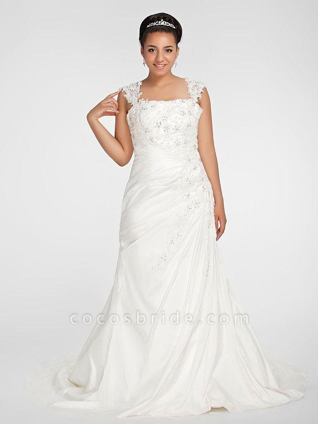 Mermaid \ Trumpet Wedding Dresses Square Neck Court Train Chiffon Regular Straps Vintage Sparkle & Shine Plus Size