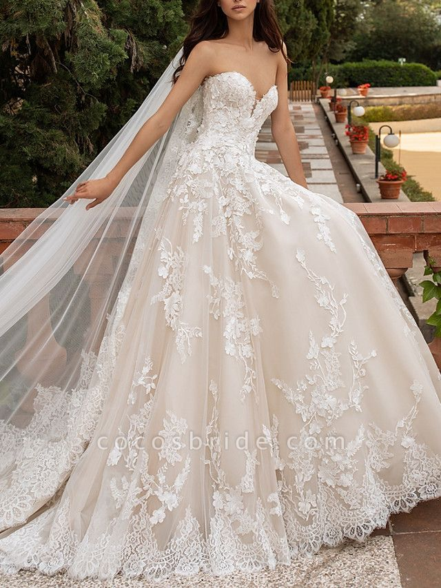 A-Line Sweetheart Neckline Sweep \ Brush Train Lace Strapless Romantic Illusion Detail Wedding Dresses