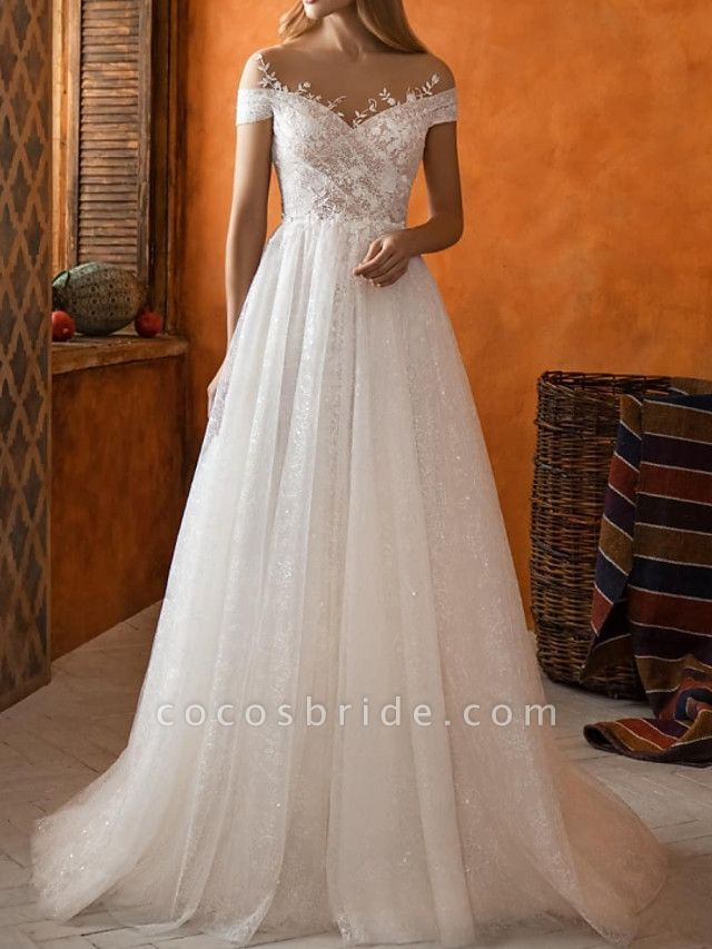 A-Line Jewel Neck Sweep \ Brush Train Lace Tulle Short Sleeve Country Wedding Dresses