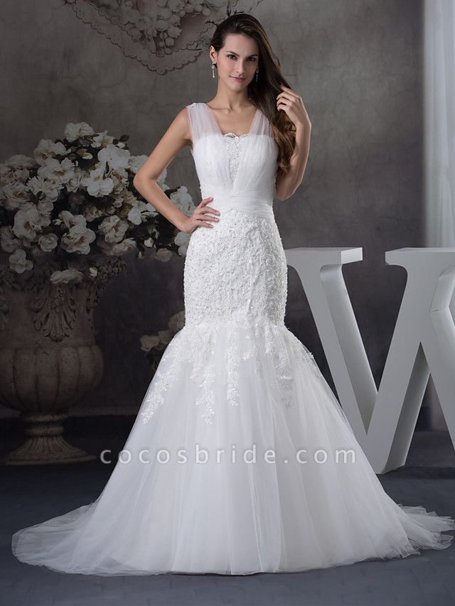 Mermaid \ Trumpet Scoop Neck Chapel Train Lace Tulle Regular Straps Wedding Dresses