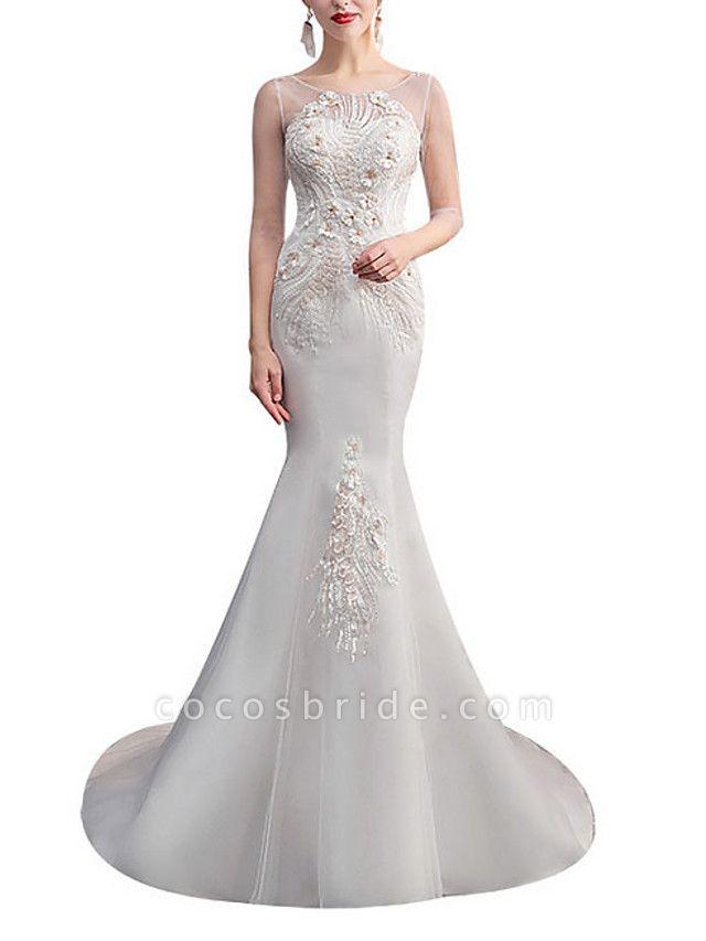Mermaid \ Trumpet Wedding Dresses Jewel Neck Sweep \ Brush Train Lace Tulle Half Sleeve