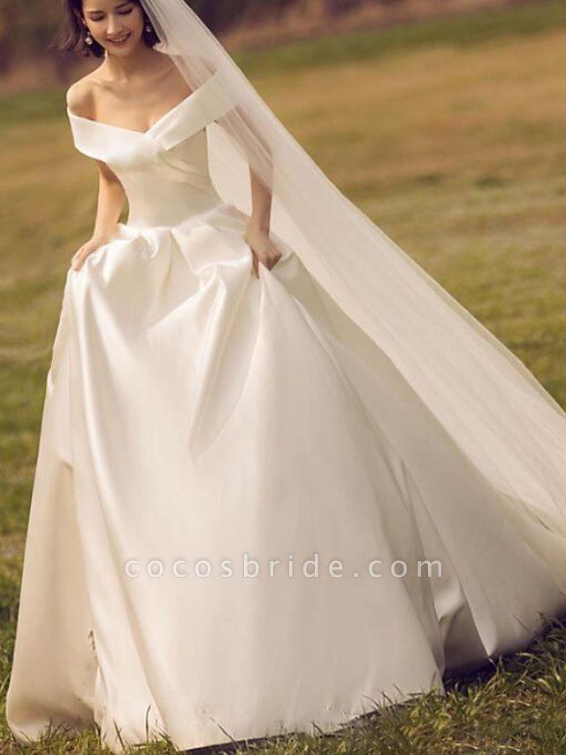 Ball Gown A-Line Wedding Dresses Off Shoulder Floor Length Satin Sleeveless Simple