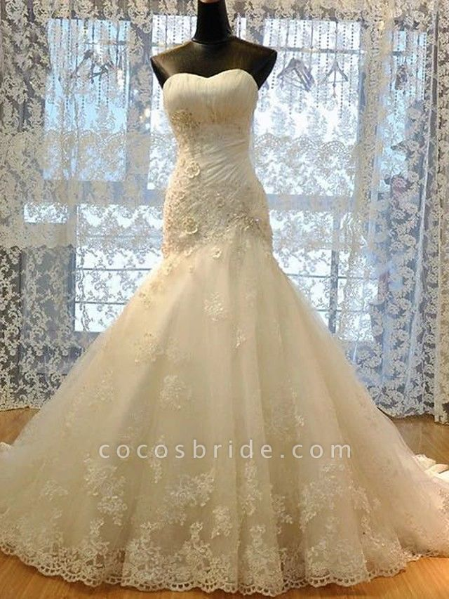 Mermaid \ Trumpet Wedding Dresses Strapless Court Train Lace Organza Stretch Satin Sleeveless Formal