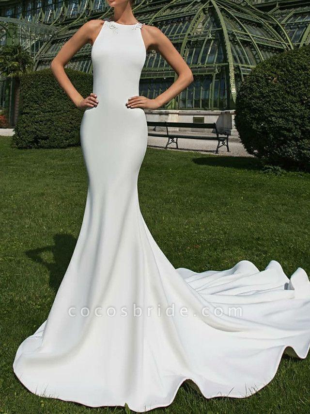 Mermaid \ Trumpet Wedding Dresses Jewel Neck Court Train Satin Regular Straps Country Sexy Illusion Detail Backless